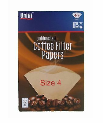 40 Unbleached COFFEE FILTER PAPERS Cones 1-4 Cups Size 4 Espresso