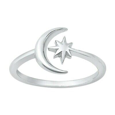 Crescent Moon Toe Ring Genuine Sterling Silver 925 Jewelry Face Height 7.5 mm