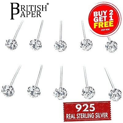 925 Sterling Silver Nose Straight Clear Studs I L Screw Shape Solid Bar Claw Set