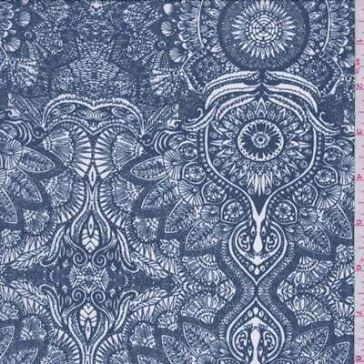 """Crepe de Chine Fabric Navy Blue /& White Bandanna Paisley 54/"""" by the yard"""