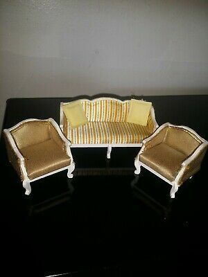 Vintage Lundby Salon Royal Gold Lounge Sitting Room  Chairs Sofa Couch Dollhouse