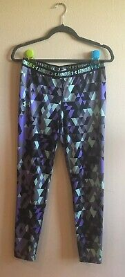 Under Armour Purple Black Gray Green Print Leggings Girl Sz XL Youth