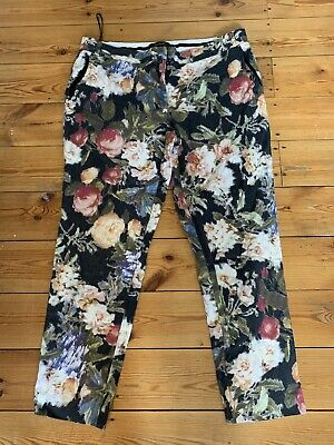 River Island Ladies Floral Textured Trousers Size Uk 14