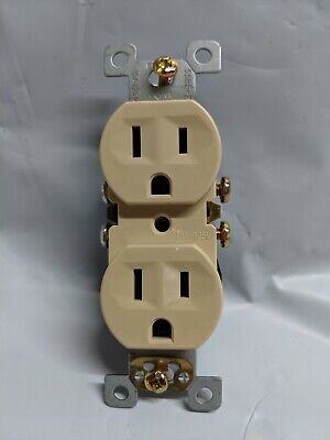 (10 pc) NEW 15A Standard Duplex Receptacles 15 Amp IVORY Self Grounding Outlets