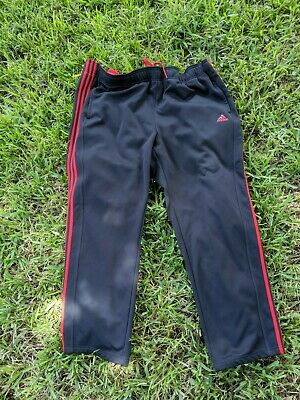 ADIDAS Black-Red 3-Stripes Men's Track Pants Small pocket sweatpants jogger 4XL
