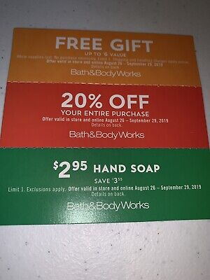 Bath & Body Works Coupons(3) Valid 8/26/19-9/29/19