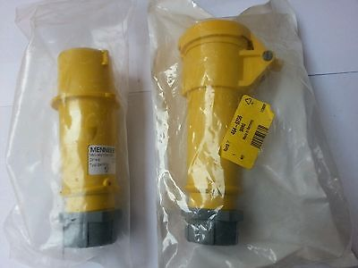 Yellow 16amp Trailing Socket Coupler 2 Pin + Earth. 110v 3 pin MENNEKES 509