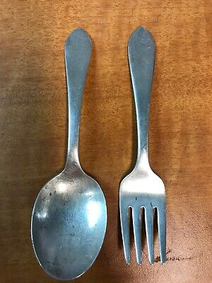 2 Pc Lot Sterling Silver Child Fork & Spoon ADAM Frank Whiting 1944   1 oz t
