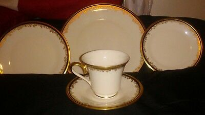 LENOX china ECLIPSE pattern 5 pc Place Setting Dinner/Salad/Bread/Cup and Saucer