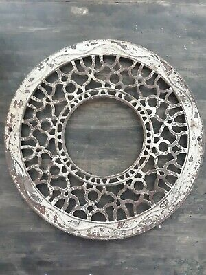 "ANTIQUE CAST IRON HEAT VENT GRATE 15.5"" Inch Round Register Decorative Grate Ivy"