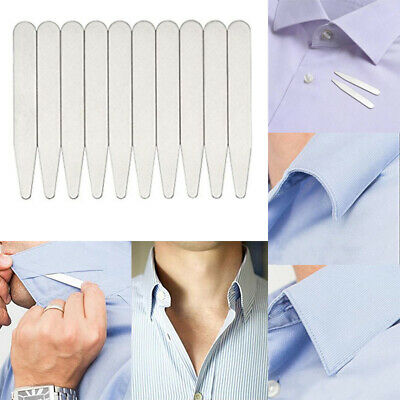 20Pcs Collar Stays Stainless Steel Sliver Metal Shirt Stiffeners Inserts Gift