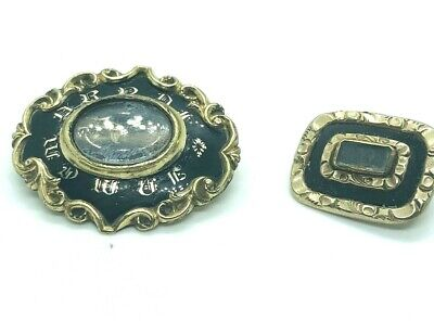 Antique Georgian / Victorian Mourning Brooches Black Enamel Rare Collectible