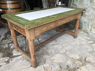 Fabulous Antique Pine Fish & Chip Shop or Pub Centre Table Ceramic & Brass Top