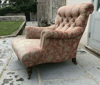 Superb Quality Low Long Seated Antique Victorian Arm Chair Stamped Walnut Legs