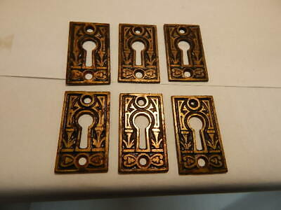 Pair of Antique Door Key Holes Escutcheon Brass Eastlake (KH 2)