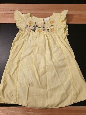 Kids Childs Girls Next Yellow Floral Summer Dress Size 1.5 - 2 Years