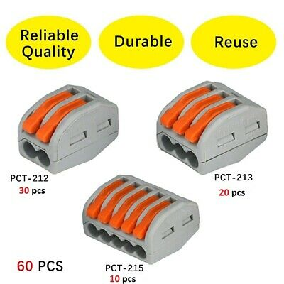 60pc Wago  Reusable Terminal Block Lever Home Connector Wire 2/3/5 Pole Clamp