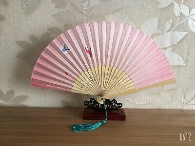 New Chinese Japanese Oriental Midnight Grey with Flowers Wood Hand Fan ccfan80