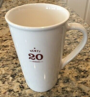 Starbucks Coffee Venti 20 oz. Tall Ceramic Mug 2010 Cream Ivory Brown