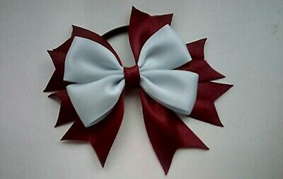 Girls Red and White Hair Bow Bobble x1 School Uniform Dance Christmas Bow