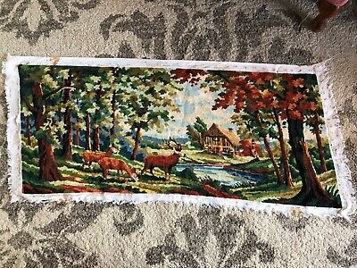 Large vintage Margot De Paris finished tapestry forest deer stag chalet mountain