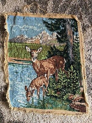 Antique vintage finished tapestry deer drinking from lake forest alpine mountain