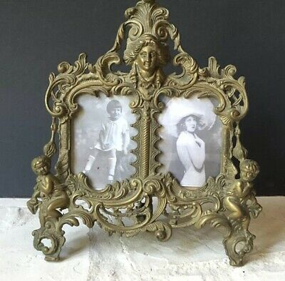 INCREDIBLE Vintage Metal BRASS Ornate GOLD Antique Picture Frames *Rare CHERUBS