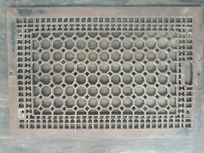 "Antique Cast Iron Grate Vintage Wall Floor Register Vent 16"" x  23 3/4"" Large"
