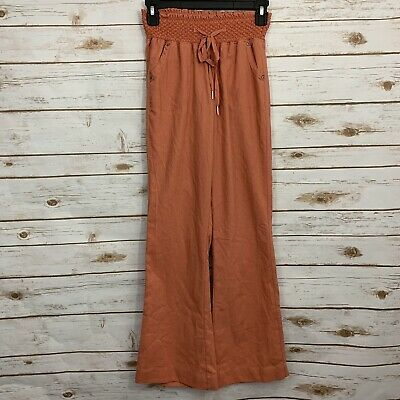 Rewash Orange Lagenlook Linen Paper Bag Waist Pants Size XS