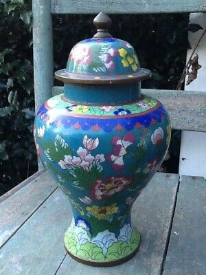 Antique Chinese Cloisonné Large Urn Porcelain Finial Lid Stamped China