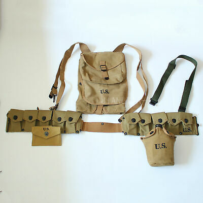Combination of WW2 US Officer Combat First Aid Pouch 1928 haversack Canteen Bar