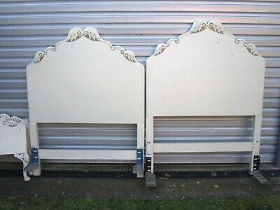Pair of Vintage Off White / Cream Bed Head Headboard