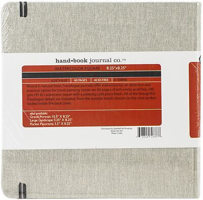 """Hand Book Watercolor Journal 8.25""""X8.25"""" 30 Sheets-Square - Natural Linen"""