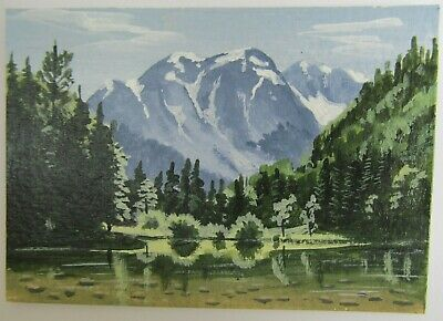 ACEO Original Acrylic Painting Landscape Reflections in Water Artist Joan Hutson