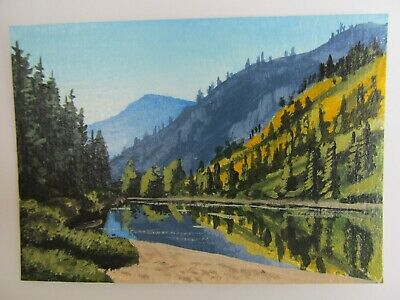 ACEO Original Acrylic Painting Landscape Autumn on the Mountain Side Joan Hutson