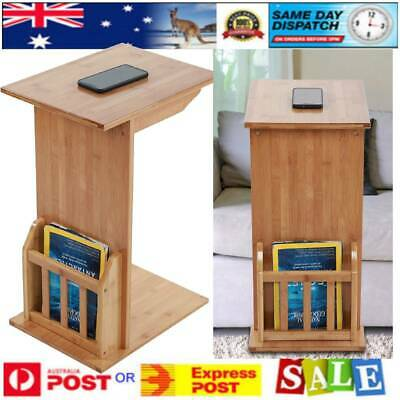 Bamboo Side Table for Sofa Lounge or Bedside Laptop Coffee Desk Book Shelf NEW