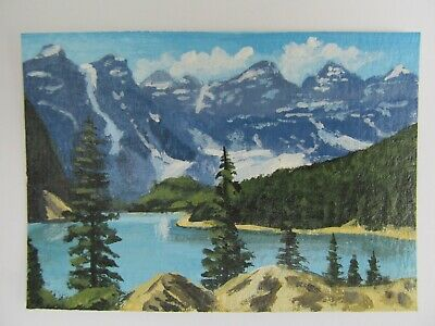 ACEO Original Acrylic Painting Landscape Canadian Wilderness Artist Joan Hutson