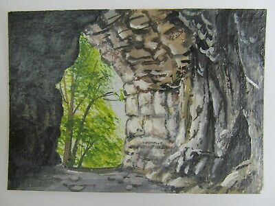 ACEO Original Acrylic Painting Landscape Inside The Cave by Artist Joan Hutson