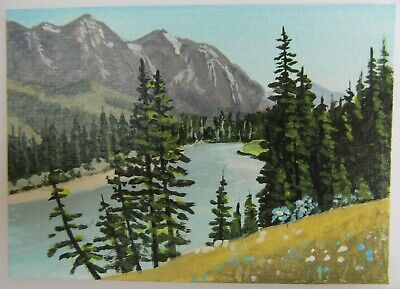 ACEO Original Acrylic Painting Landscape The River Below by Artist Joan Hutson