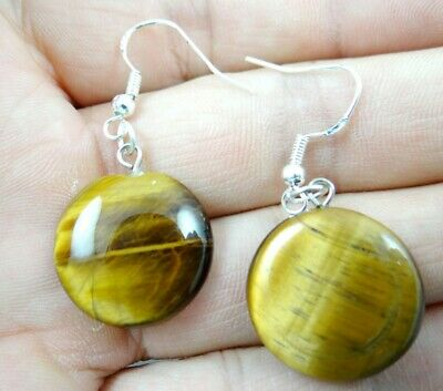 Beautiful Pair Of Round drop tiger eye agate pendant 925 silver Earrings A-44