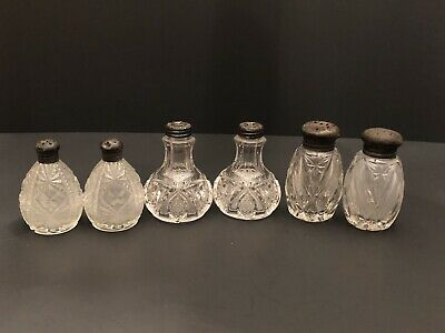 3 Cut Glass Salt & Pepper Shaker Sets With Sterling Silver Tops