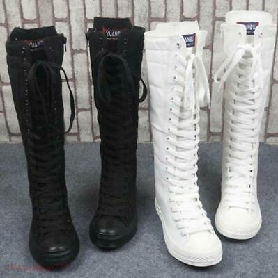 Women's Canvas Knee High Boots Shoes Sneaker Lace Up Zipper Student Girls preppy