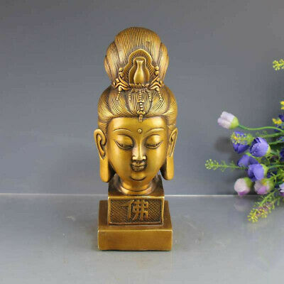 """8.26"""" Collection old chinese brass hand-made Kwan-yin head seal signet stamp RT"""