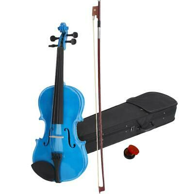 Full Size 4/4 Basswood Acoustic Violin Fiddle + Case + Bow + Rosin Blue