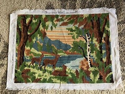 Vintage Margot de Paris finished tapestry needlepoint mountain lake forest deer