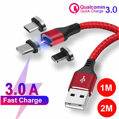 Magnetic Fast Charge Charger Lightning Type C Micro USB Cable For iPhone Samsung