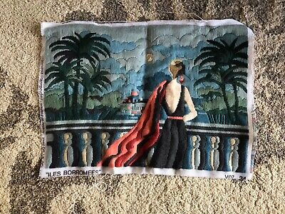 Vintage long stitch tapestry Art Deco lady 20s Italy lake maggiore Borromean