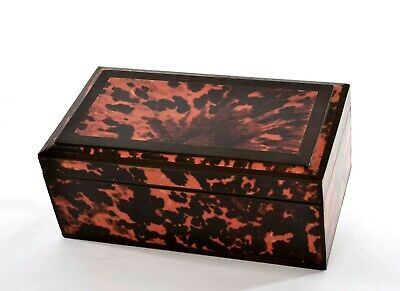 1930's Chinese Faux Tortoise Turtle Shell Veneers Wood Carved Carving Box