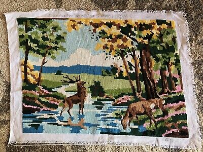 Vintage alpine mountain deer stag stream forest finished tapestry needlepoint
