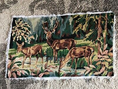 Vintage alpine mountain deer stag forest large finished tapestry needlepoint
